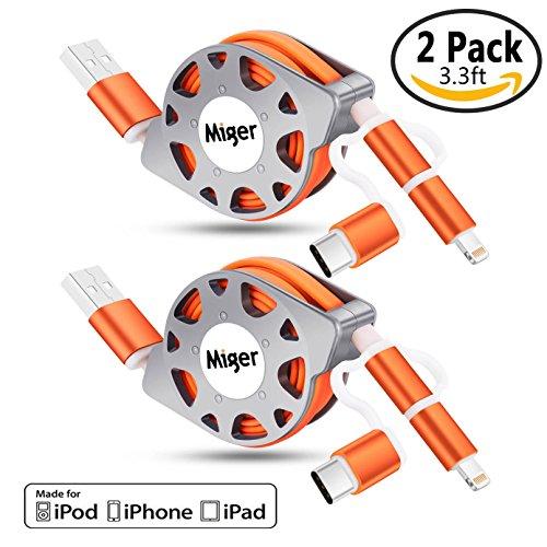 Miger 2Pack 3.3 Feet (1 Meter) Einziehbare Ladung und Sync 3 in 1 Kabel mit Lightning & Micro USB Anschlüsse für iPhone, iPad, iPod Touch / 5 Nano 7 auf iOS9, Samsung / HTC & More(Orange) Ipod Nano Sync-kabel