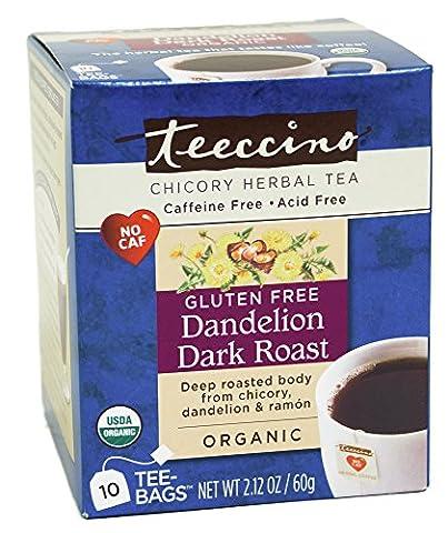 Teeccino, Organic Herbal Coffee, Dandelion Dark Roast, Caffeine Free, 10 Tee Bags, 2.12 oz (60 g)