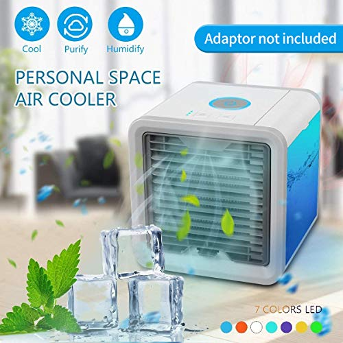 GHONLZIN Condizionatore Portatile -3-in-1 Mini Raffrescatore Evaporativo Umidificatore Purificatore D'aria [ Senza Freon] USB Climatizzatore con Raffreddamento ad Acqua per Casa/Ufficio/Camper/Garage
