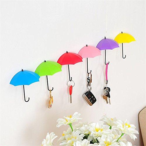 Sujing 6pcs Wall Haken Zum Aufhängen Kleiderbügel Regenschirm Form Wandhaken Key Holder Organizer - Mason-gläser Korb