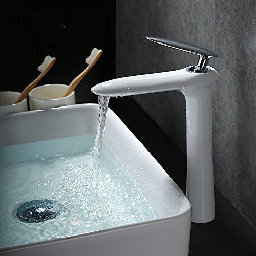 Haupthahn Kupfer Badezimmer Vanity Hot and Cold Wasserhahn Einlochmontage Wasserfall -