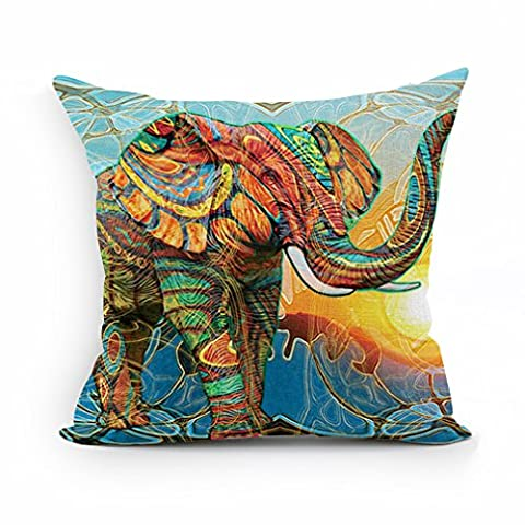 Nunubee Vintage Elephant Cotton Pillowcase Linen Home Cushion Cover Animal Pillowcase 11