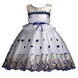 Mamum Enfants Bébé Filles Longues Manches Dentelle Bowknot Pageant Princesse Robes Robe de Soirée Anniversaire De Bal Formelle Vêtements Tutu (bleu, 160(8Ans))