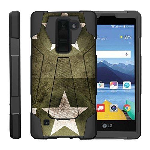 turtlearmor | Kompatibel für LG K8V Fall | LG K8V Fall | VS500[dynamisch Shell] Impact Proof Hard Ständer Hybrid Shock Silikon Cover Militär Krieg Armee Camo Design -, Military Stars -