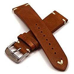 Vintage Style Leather Watch Strap (20mm - Light Brown)