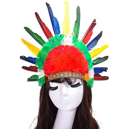 VJGOAL Damen Hut, Karneval Häuptlingshut Erwachsenen Kopfschmuck Feder Deluxe Mulitcolor Kostüm Karneval ()