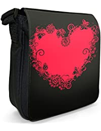 Red Heart Edged With Hearts & Butterflies Small Black Canvas Shoulder Bag / Handbag