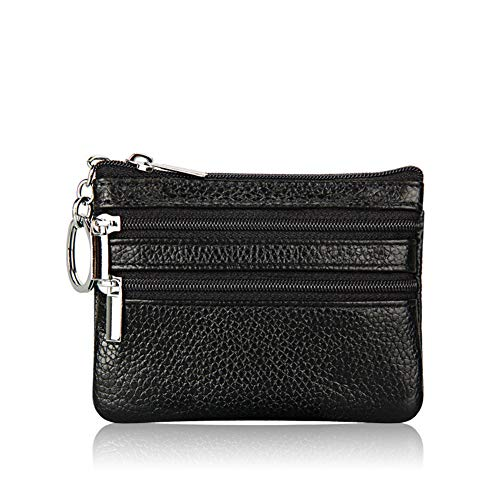 AMA-StarUK36 Womens Mini Coin Purse Wallet Genuine Leather Zipper Pouch Card Holder Wallet with Key Ring Chain(BK) (Womens Shorts Bk)