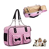 WENDYRAY Transportbox Tote Leder Reisetasche Tragetasche Tragetasche Transportbox für Welpen Kätzchen Chihuahua (15,7 * 10,6 * 6,9 Zoll, Pink)