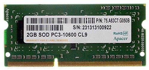 apacer 2GB Sod PC3–10600CL9P/N 75.a83C7.g050b portátil Memoria id17084