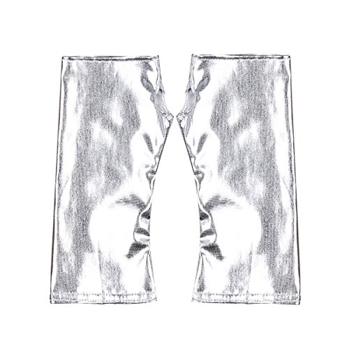 YOOJIA Damen Handschuhe Lackleder Armstulpen Lange Metallic