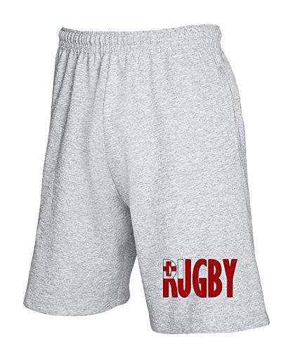 Cotton Island - Pantalone Tuta Corto TRUG0065 rugby tonga fitted logo Grigio