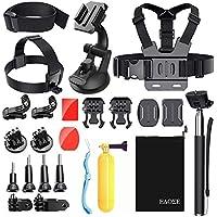 Edose Kit d'accessoires Essentiels pour GoPro - Kit d'accessoires pour Caméra d'action, pour Gopro Hero 6 5 Session Akaso Ek7000 Akaso V50 et bien plus encore  25 Iin 1 25 in 1