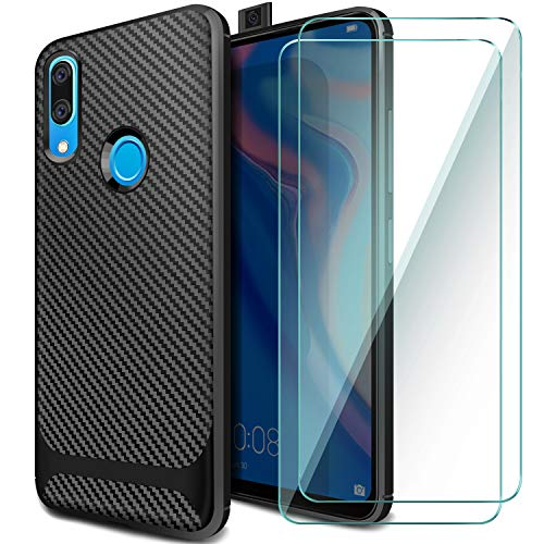 AROYI Cover Huawei P Smart Z&[2 Pack] Pellicola Protettiva in Vetro Temperato,Custodia P Smart Z TPU Silicone Case Shock-Absorption Bumper e Anti-Scratch Back per Huawei P Smart Z/Y9 Prime 2019-Nero