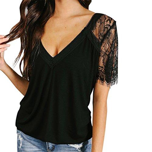 c6e457b1732 Womens Tops,Moonuy,Women Long Sleeve Tops,Girl Lace Up Short Sleeve Deep V-Neck  Sexy Elegant Fashion Casual Summer Autumn Spring Winter Crop T-Shirt Shirt  ...