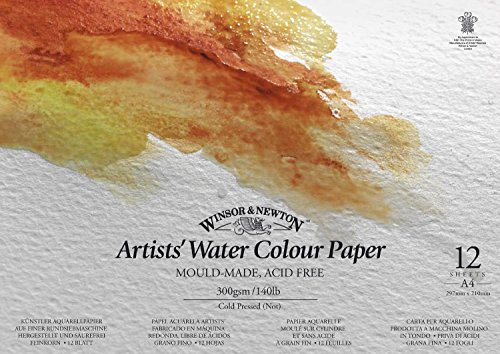Winsor & Newton Zeichenblock für Aquarellfarben, 12 Blatt, 300 g/m², DIN A5