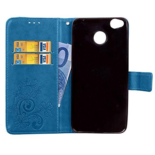 Double Magnetic Back Sucktion Retro Style PU Leder Flip Stand Case mit Kickstand und Wallet Beutel Funktion für Xiaomi Hongmi 4x ( Color : Purple ) Blue