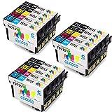 GUCOCO Hohe Kapazität 15 Multipack Packung Epson T0715 Kompatible Tintenpatrone für Epson Stylus SX218 SX200 DX4050 DX8450 SX210 SX100 SX400 DX4400 SX110 Drucker (6 Schwarz, 3 Cyan, 3 Magenta, 3 Gelb)
