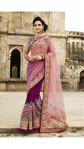 Rajeshwar Fashion Women\'s Net Saree (Pink Work_Purple)