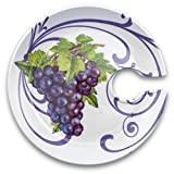 Epic 75-113 Purple Grape Cluster Motif Ceramic Appitizer Plate with Cup Holder