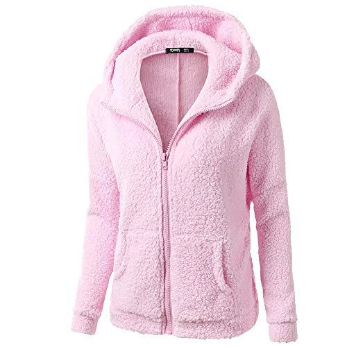 Lazzboy Womens Coat Jacket Sweatershirt Hoodie Lambs Wool Solid Pocket Velvet Fleece Long Sleeve Hooded Overcoat Outerwear Oversized Plus Size,S-5XL (2XL,Pink)