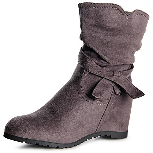 Grau Topschuhe24 Damen 995 Boots Keilabsatz Stiefeletten Booties pZ14p