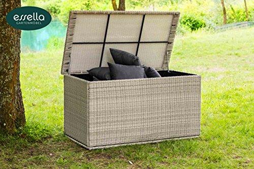 Polyrattan Kissenbox XL - Rundgeflechtoptik - Vintage-Weiss - Gartenmöbel - Terassenmöbel