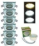 Trango 6er Pack Design handgschliffenem Glas & Alu LED Einbaustrahler incl. 6x Farbtemperatur steuerbar LED Modul 3000K/4000K/6000K LED Modul nur 3cm Einbautiefe Bad Dusche Trango TG6729S3/6K-06