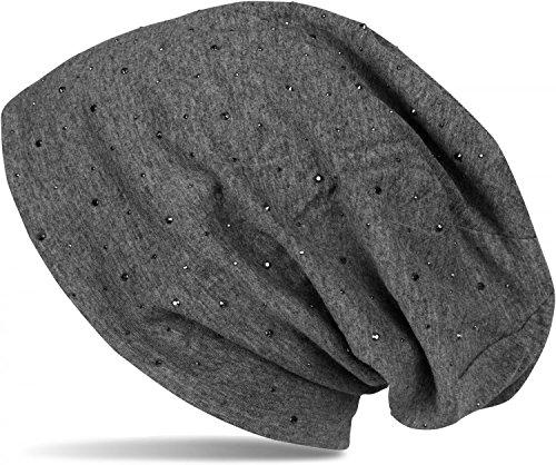 styleBREAKER Klassische Beanie Mütze mit Edler Strass-Nieten Applikation, Unisex 04024037, Farbe:Dunkelgrau