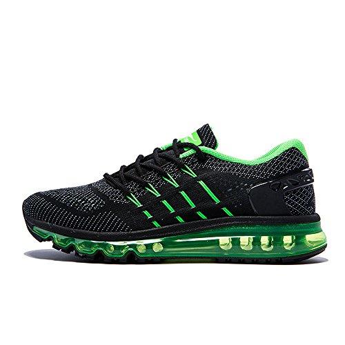 Onemix Air Uomo Scarpe da Corsa Sportive Running Sneakers Casual all'Aperto Black Green