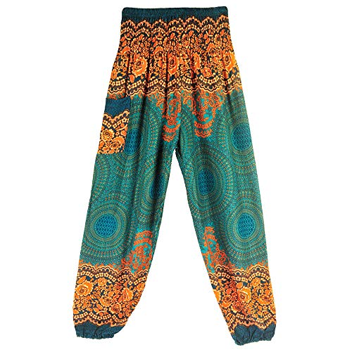 Lazzboy Hosen Yoga Männer Frauen Thai Harem Hose Boho Festival Hippie Kittel Hohe Taille (M,1) - Indische Muster Hanf