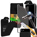 i-Tronixs Oukitel Mix 2Case Schutzhülle Tasche mit Carbon-Effekt, mit verstellbarer Clamp Flip Case Cover Hülle mit Kredit-/Oukitel Mix von 2Hülle mit Displayschutzfolie aus gehärtetem Glas