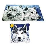 Baoblaze 2 Sets Wolf-Muster Knüpfteppich Formteppich für Kinder und Erwachsene zum Selber Knüpfen Teppich, Latch Hook Kit