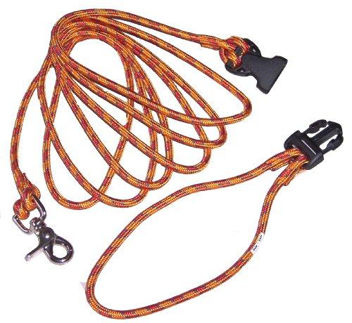 Schleppleine mit ABNEHMBARER Handschlaufe - 3 Meter; Orange - Hochwertiges Seil