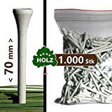 "Golf TEES - 70 mm (2 3/4"") - 1000 Stück - Holz - Farbe: weiß"