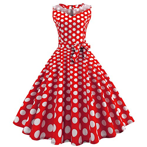 OverDose Damen Urlaub Strand Stil Frauen Vintage Dot Bunte Druck Sleeveless Mesh Patchwork Abend Party Bar Dating Schlank Swing Kleid Rock Dirndl(Wassermelonenrot,EU-36/CN-L)