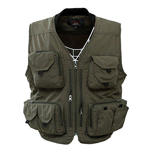 Leoie Men's Outdoor Casual Vest Sports Quick Drying Multi Pocket V Neck Cotton Blend Fishing Vest
