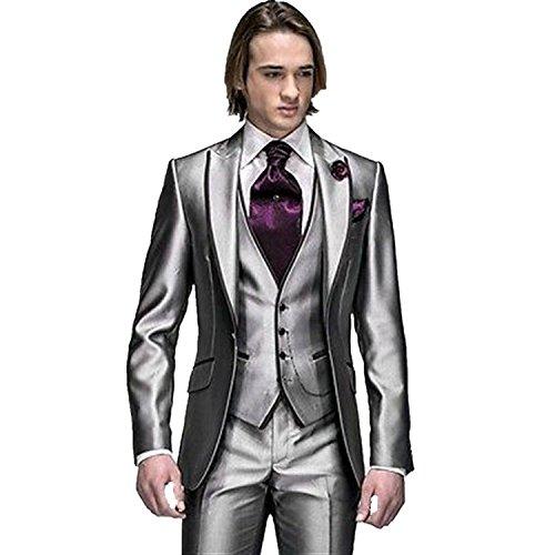 Lilis® Herren maßgeschneiderte Groomsman Smoking Shining Suit Jacket Hosen und Weste Set Silber (Klassische, Maßgeschneiderte Anzug)