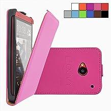 COOVY® COVER CASE CUBIERTA DELGADO FUNDA PROTECTORA CON TAPA PARA HTC ONE M7 con lámina projoectora de pantalla color rosa fuerte