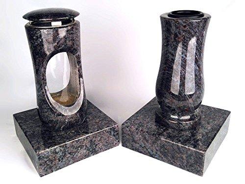 designgrab Design small Grablampe mit Vase und 2 Stück Sockel aus Granit Orion Blue/Vizac Blue, Grabschmuckset
