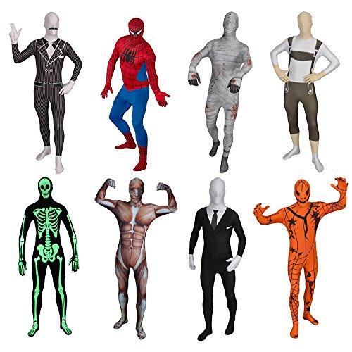 Original FUNSUIT Leuchtskelett Ganzkörperanzug Anzug Kostüm Gr. S / M / L / XL / XXL - Skelett Skin Suit Kostüm
