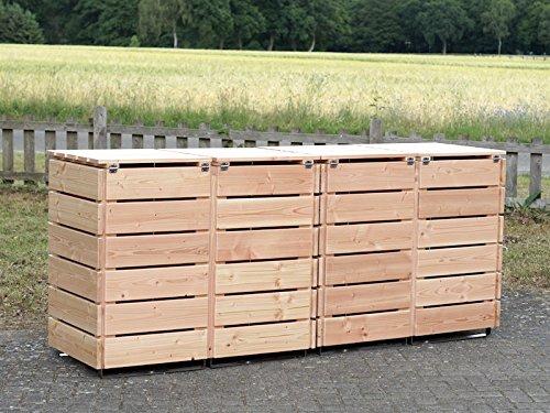 4er Mülltonnenbox / Mülltonnenverkleidung 240 L Holz, Douglasie Natur - 4
