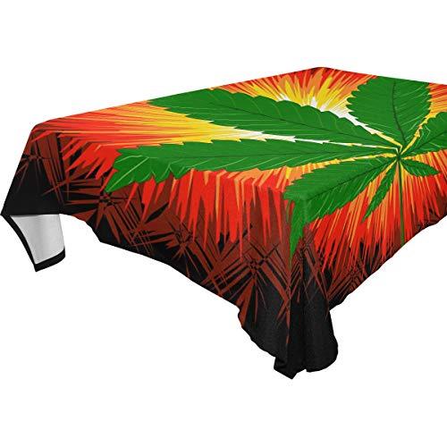 Naiian tovaglia rettangolare animale 54x54 pollici per feste matrimoni cucina tovaglia copertura tavolo da pranzo floreale con foglia di marijuana cannabis
