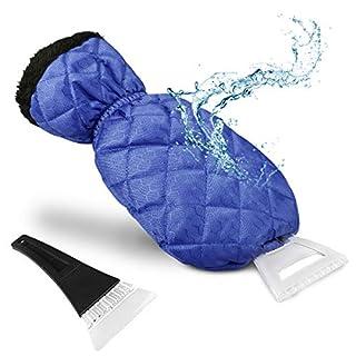 Weeygo Eiskratzer mit Handschuh - Windschutzscheibe & Side Windows Eiskratzer mit Wasserdichtem Fleece Gefüttertes Innenfutter, Frost Schnee Entferner Mitt für Autos & Pick Up Trucks (blau)