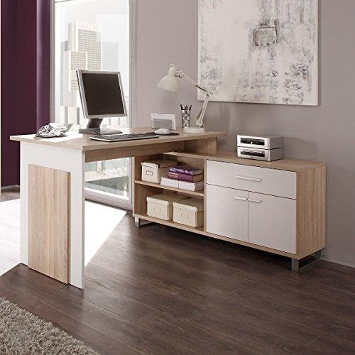 moebel-guenstig24.de Schreibtisch Eckschreibtisch Manager mit integriertem Sideboard/Farbe: Eiche Sonoma/Weiß