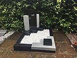 Urnengrab Grabstein Schwarz/Weiß Urnengrabstein Grabmal Granit/Marmor Grabanlage Grabmal Grabsäulen mit Grabumrandung 80cm x 80cm inklusive Gravur