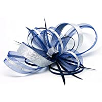 Navy blue fascinator with silver lurex trim and sparkling diamante' on a clip