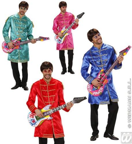 WIDMANN Herren-Kostüm Musicman (Jacke), Blau/Rot/Rosa/Grün, Größe L (106,7/111,8 cm) für 60er 70er Jahre ()