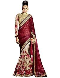 Aika Fashion Women's Net Saree With Blouse Piece (Savi1537-Ma,Maroon,Free Size)