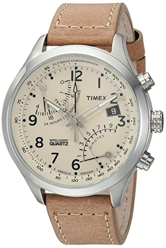 Timex Men's TW2R55200 Intelligent Quartz Fly-Back Chronograph Tan Leather Strap Watch (Strap Tan Watch Leather)